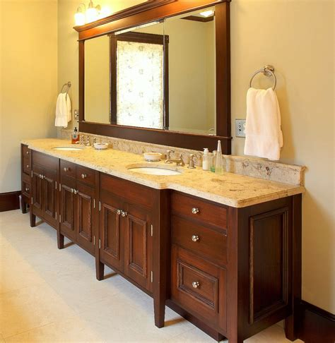 hand  double sink bath vanity  benchmark woodworks