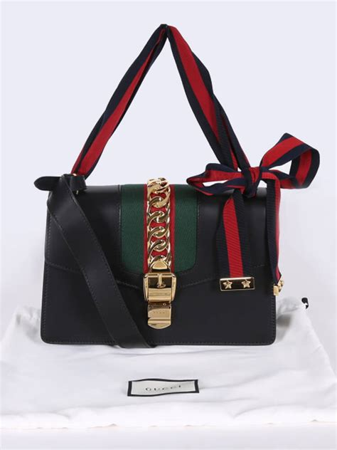 gucci sylvie small leather shoulder bag black luxury bags