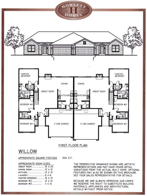 Duplex Plan With Garage In Middle Unique  House Design Ideas