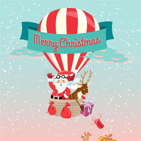 festive merry christmas greeting card with santa claus and his d stock vector image 45463606