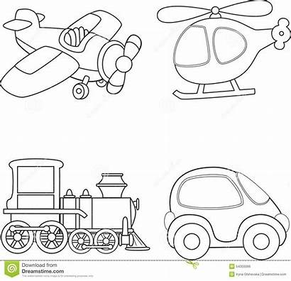 Transport Coloring Cartoon Vector