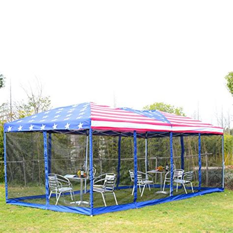 outsunny    pop  canopy shelter party tent  mesh walls american flag