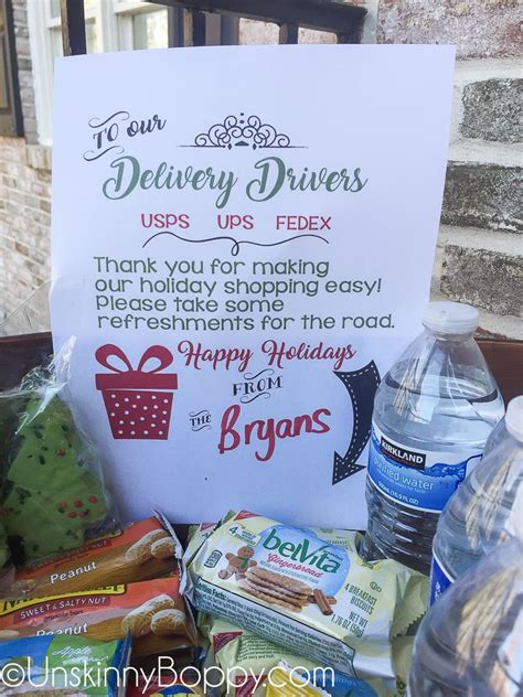 christmas gift for ups driver put a of snacks on your porch for ups fedex and usps during the holidays free printable