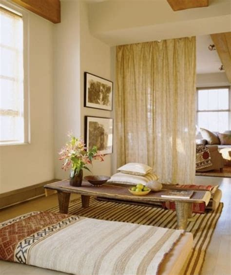 beige curtain with colored wall for meditation