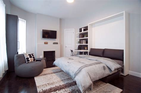 Space-saving-beds-living-room-with-clei-efficient-micro Grey Bathroom Tiles Ideas Small With Bath And Shower Floor Plan Marble Painting Ceiling Same Color As Walls Mirrors Lighting Cabinets Standing For