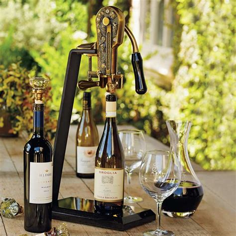 all gifts antique bronze wine opener with black