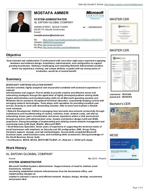 How To List Microsoft Certifications On Resume by Mostafa Ammer Cv Resume