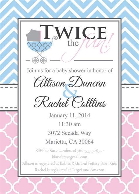 double baby shower invitation gender neutral baby