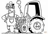 Tractor Farmer Cartoon Coloring Tractors Drawing Pages Printable Line Simple Farm sketch template
