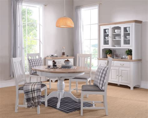 Grey Shabby Chic Country Painted Extending Round Dining