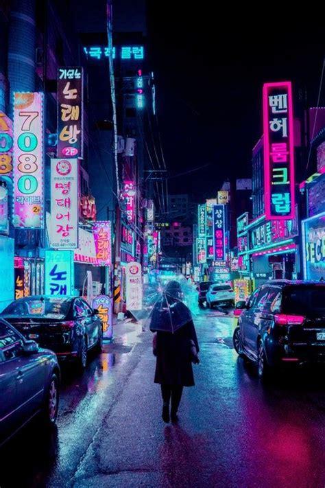 rain neons seoul cyberpunk night city