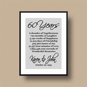 60th anniversary gift diamond anniversary personalized With 60th wedding anniversary gift ideas