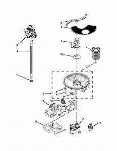 Pump  Washarm And Motor Parts Diagram  U0026 Parts List For Model 66513269k114 Kenmore