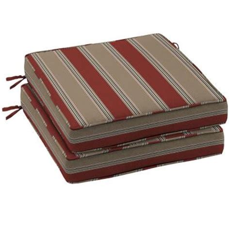 Home Depot Outdoor Seat Cushions by Hton Bay Chili Stripe Outdoor Seat Cushion 2 Pack