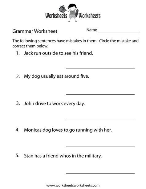 Grammar Practice Worksheet  Free Printable Educational Worksheet
