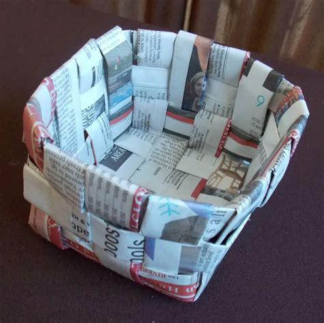 newspaper basket fun family crafts