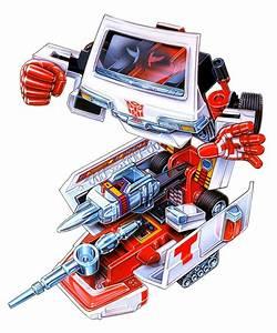 Ratchet (Cross variant) G1 toy box art.   Transformers ...