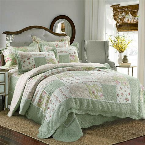 Green Coverlet King by Floral King Bed Linen Green Tone Patchwork Quilted