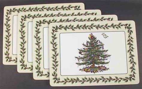 spode christmas tree green trim set of 4 corkboard