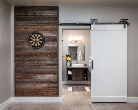 reclaimed wood wall panel sliding barn door  game room