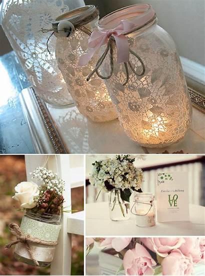 Mason Jar Lace Jars Centerpieces Romantic Weddings