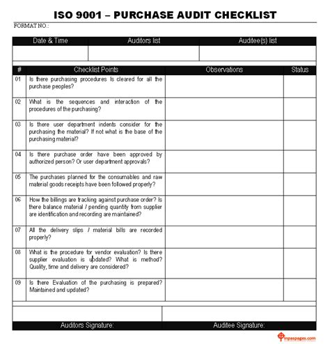 Iso 9001 Templates Free by Iso 9001 Purchase Audit Checklist