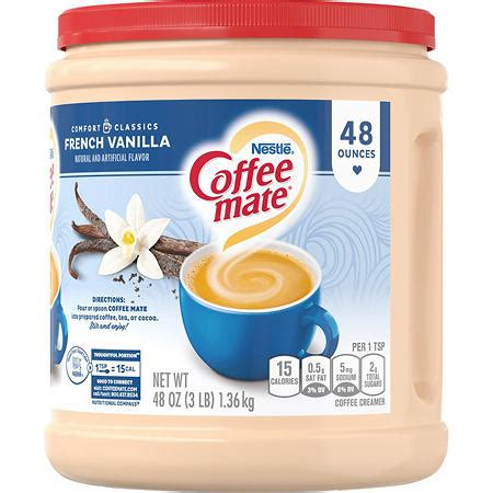 2,000 calories a day is used for general nutrition advice. Coffee mate French Vanilla Powder Coffee Creamer (48 oz ...