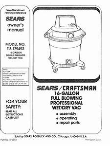 Craftsman 113179492 User Manual Wet  Dry Vac Manuals And