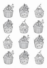 Coloring Pages Adult Easy Cupcake Adults Cupcakes Cup Cakes Celine Cake Books Yum Justcolor Printable Colors Many Eat Zentangle Template sketch template