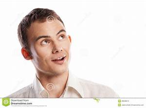 Handsome Smiling Young Man Looking Up Isolated Stock ...