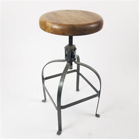 stool  top wrought iron  wood seat air designs