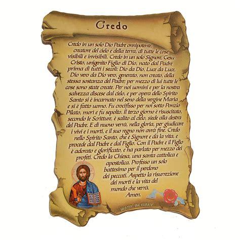 Preghiera Credo Testo by Quadretto A Forma Di Pergamena Con Piedino Da Appoggio
