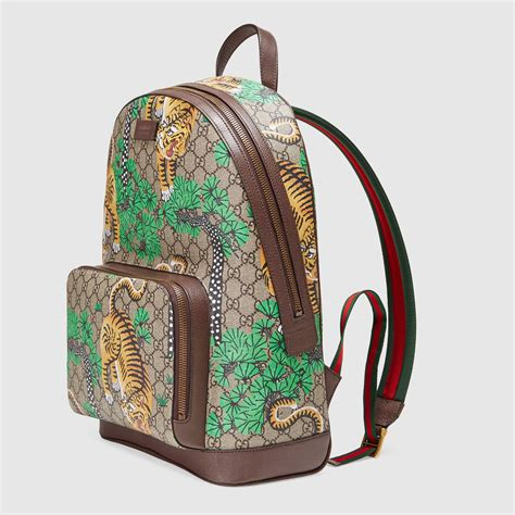 gucci leather bengal gg supreme canvas backpack lyst
