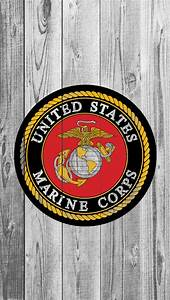 USMC logo on wood iPhone 5 Wallpaper (640x1136)