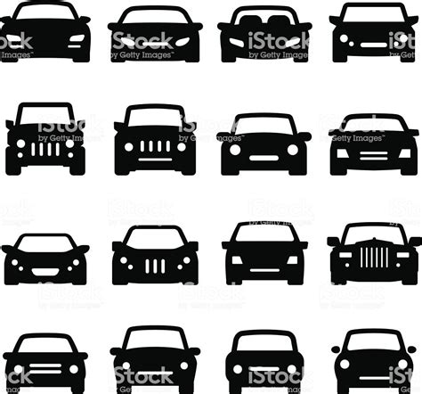 Car Icons Front Views Black Series Stock Vector Art & More