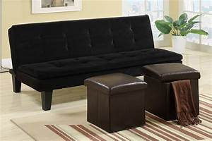 Black microfiber adjustable sofa with 2 storage ottomans for Adjustable sectional sofa bed with storage