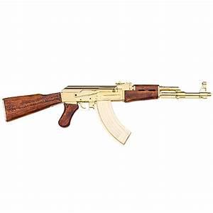 AK-47 Gold Finish Russian Assault Rifle - DryGuns.com