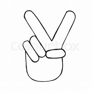 Vector Pencil Sketch Of Hand With Victory Sign  Doodle