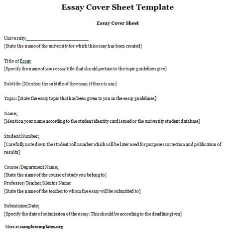 essay template for cover sheet exle of essay cover