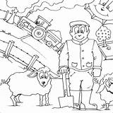 Colouring Farmer Coloring Farm Pages Drawing Printable sketch template