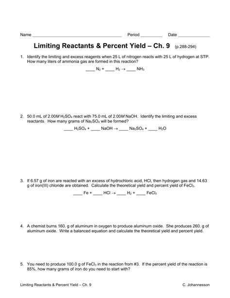 Limiting Reactant Percent Yield Worksheet  All The Worksheets For Free