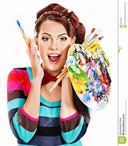 Female artist at work. stock image. Image of beauty ...