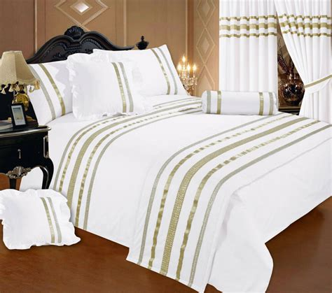 White And Gold Bed Covers by Bed White Gold Ribbon 200 Thread Count Hotel