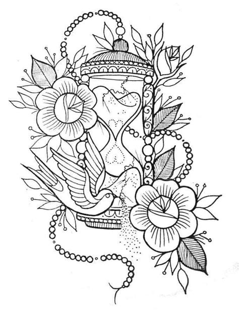 Flores | Tattoo design drawings, Hourglass tattoo, Free adult coloring pages