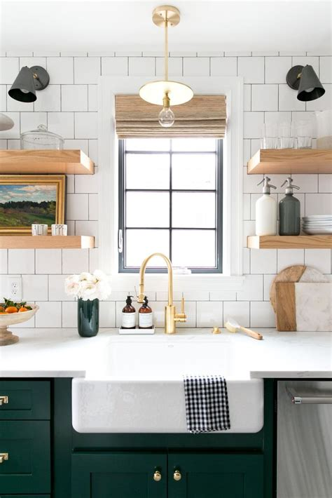 bold green cabinets  open shelving   kitchen