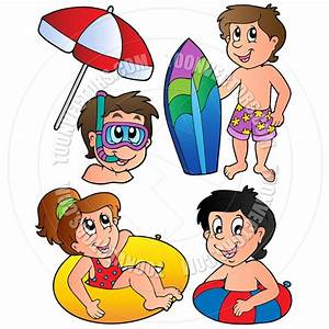 Kids At The Beach Clipart Black And White | Clipart Panda ...