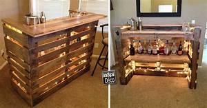 Fabriquer Un Bar : mini bar en bois de palettes voici 20 id es cr atives ~ Carolinahurricanesstore.com Idées de Décoration