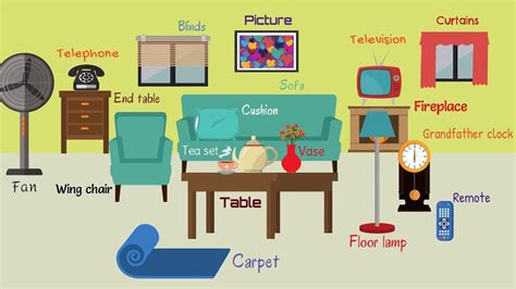 Kids Vocabulary  Names Of Living Room Objects For Kids