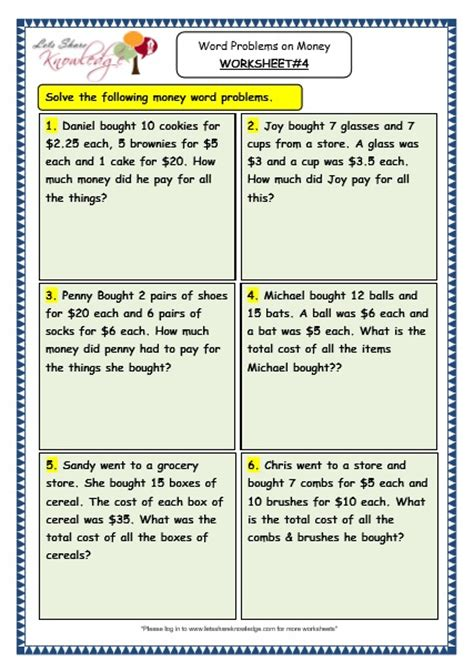Grade 3 Maths Worksheets (105 Word Problems On Money