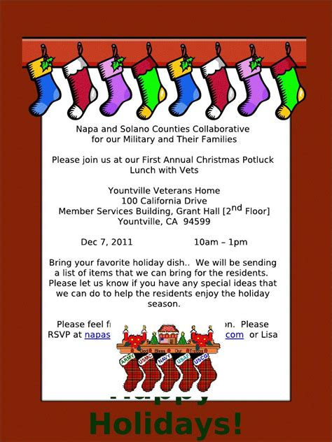 stirring christmas potluck lunch invitation theruntime com